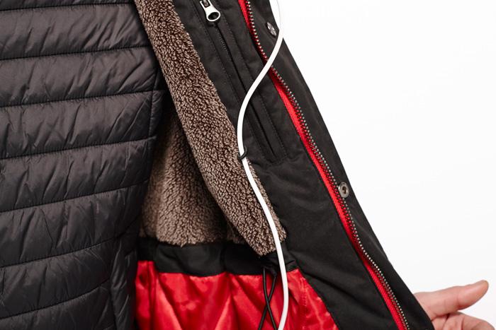 abrigo tiwel bolsillo ipod