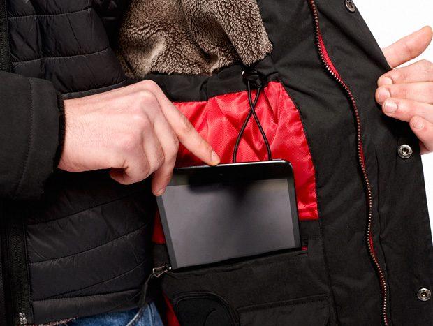 abrigo tiwel bolsillo tablet