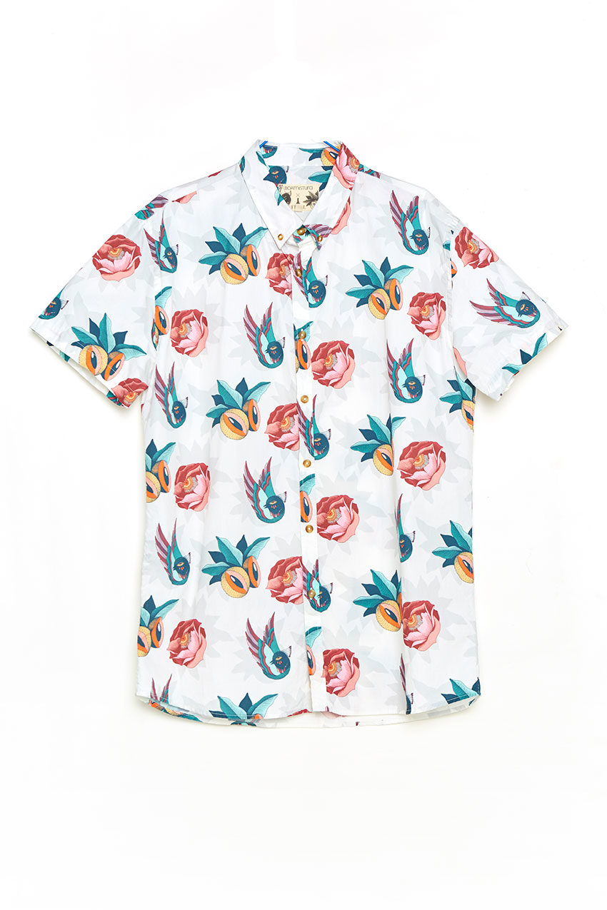 Camisa Boa Jungle Tiwel snow white