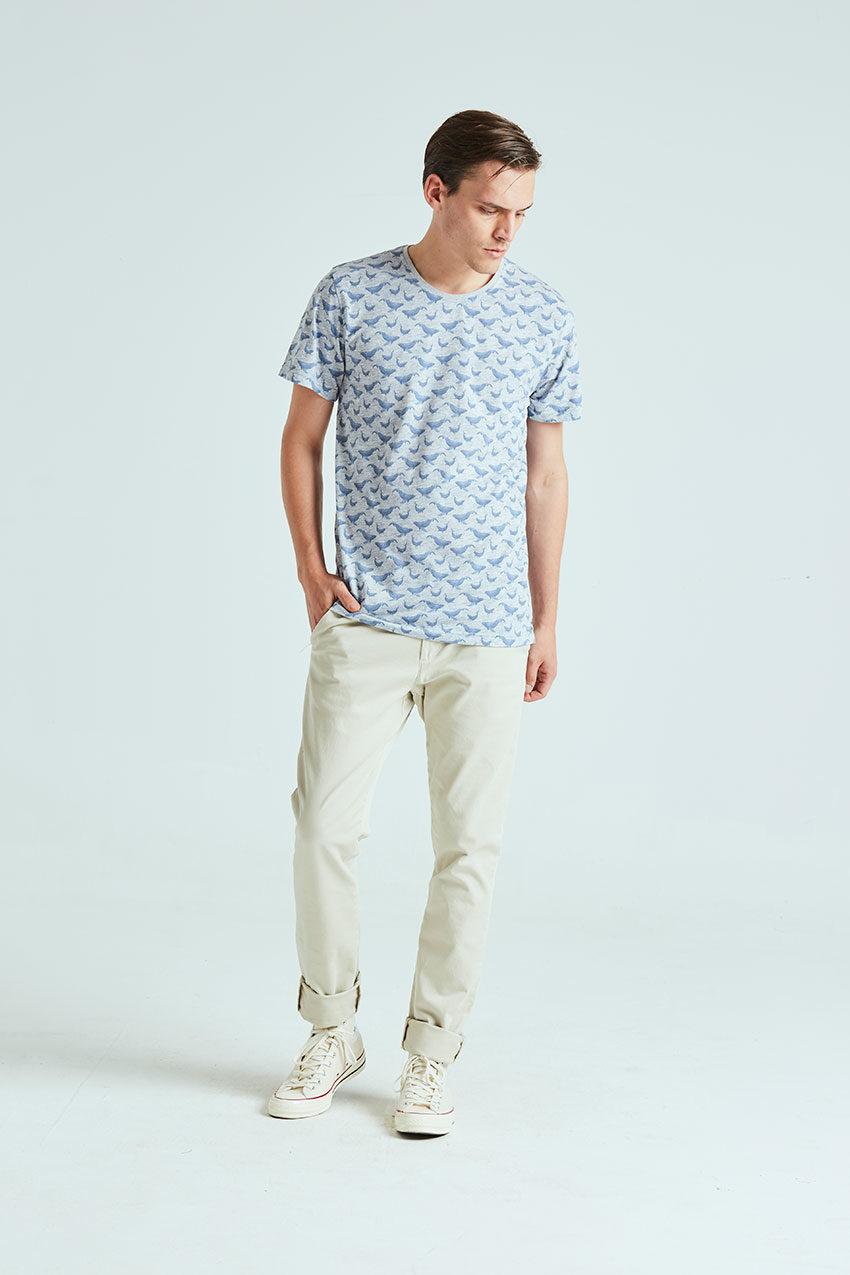 Camiseta Whale Tiwel light grey melange 01