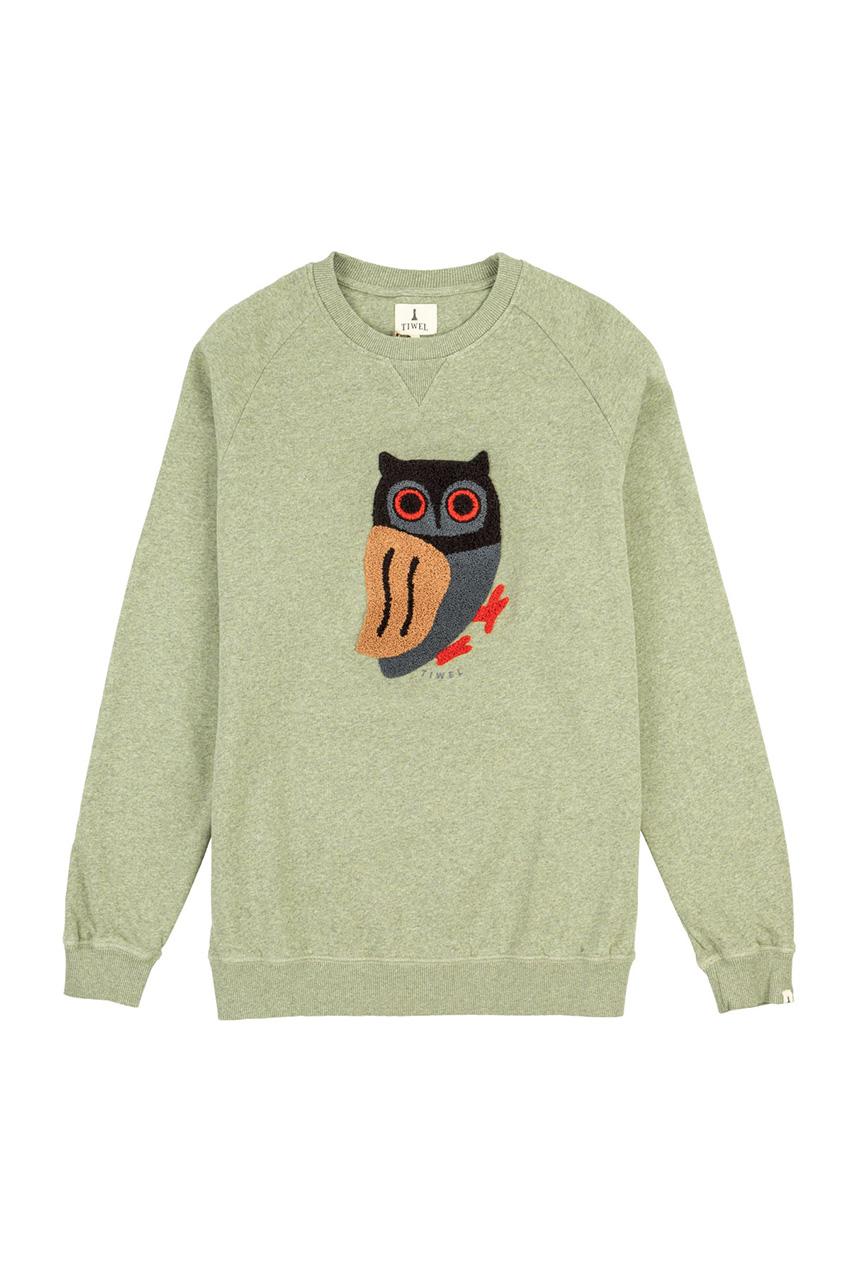 Owl Sweatshirt Ivy Green Melange 01