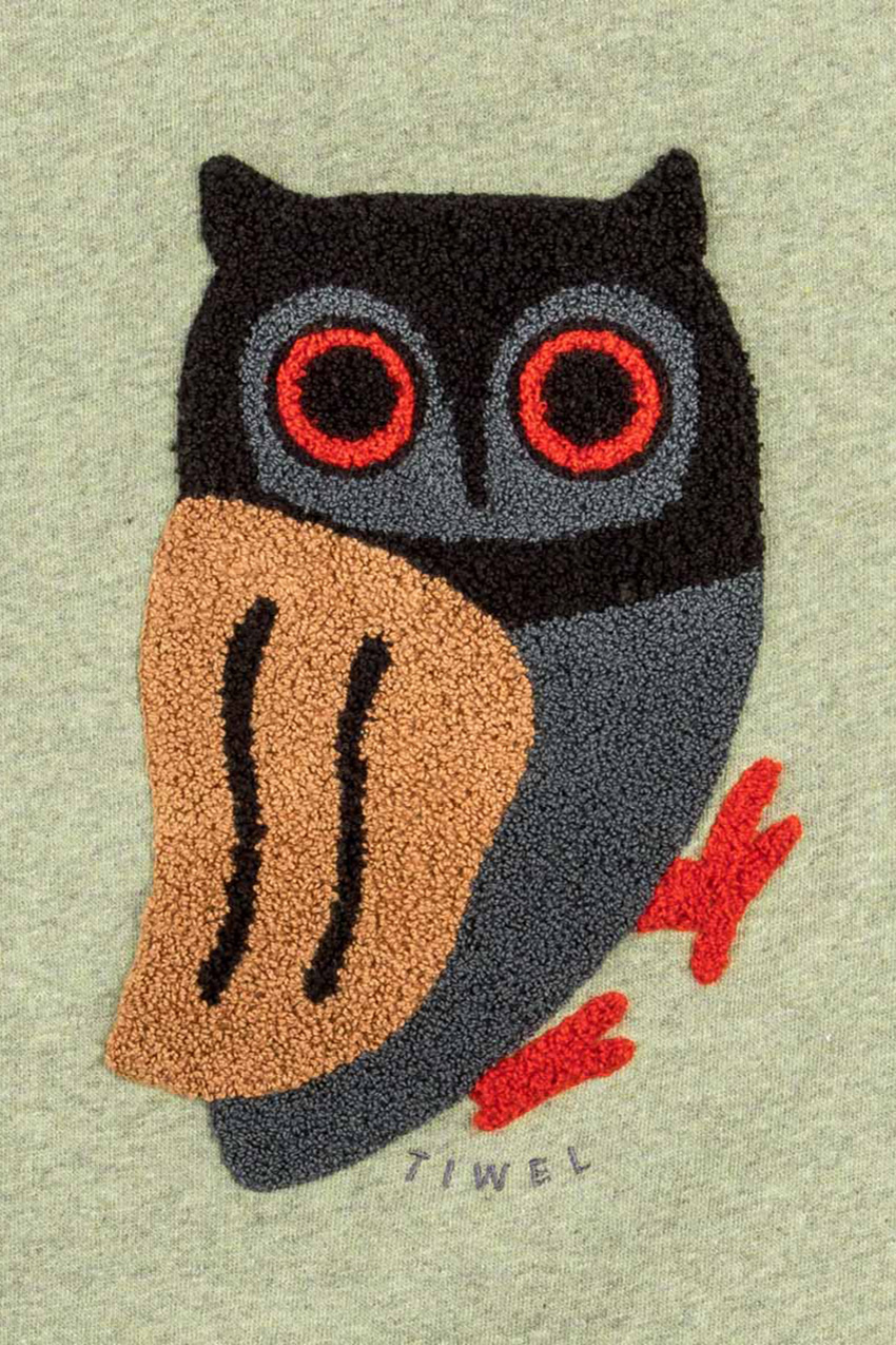 Owl Sweatshirt Ivy Green Melange 03