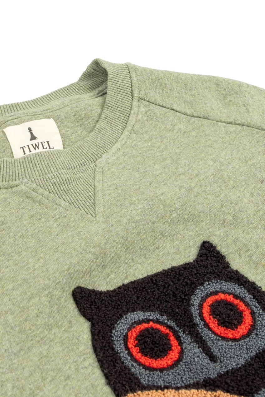 Owl Sweatshirt Ivy Green Melange 04
