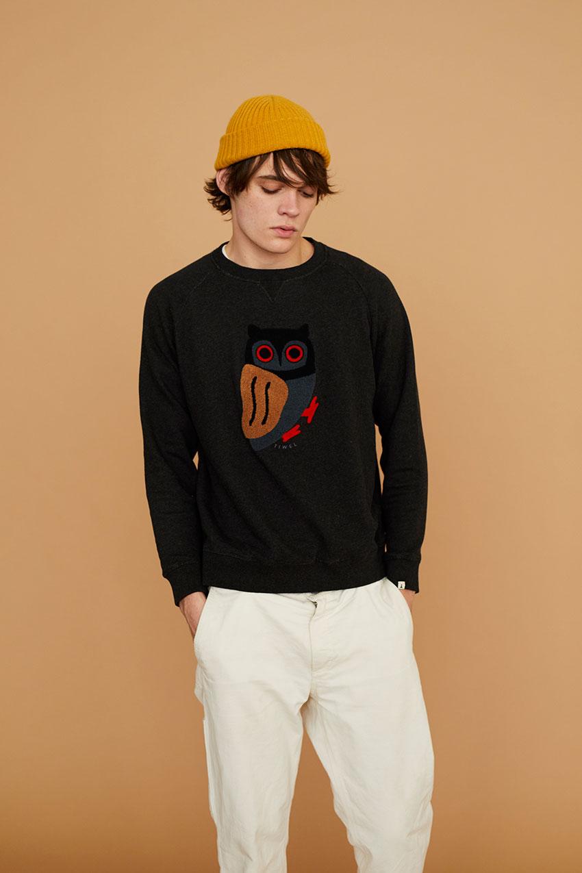 Owl Sweatshirt Pirate Black 06