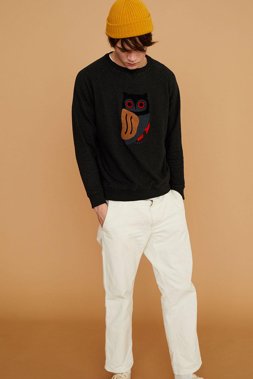 Owl Sweatshirt Pirate Black 07
